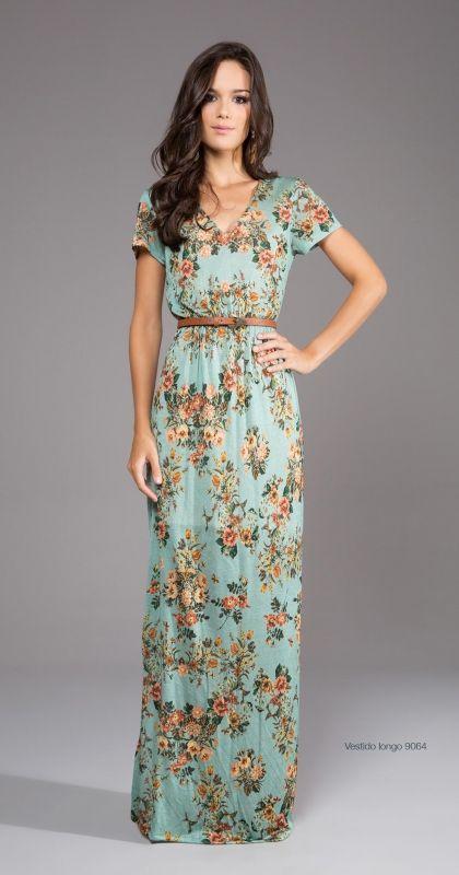vestido longo verao estampado