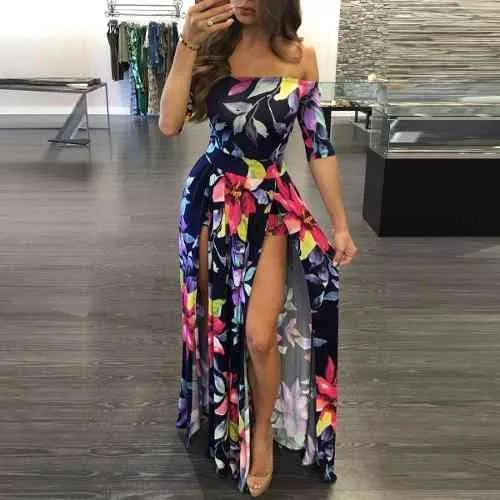 vestido longo verao florido