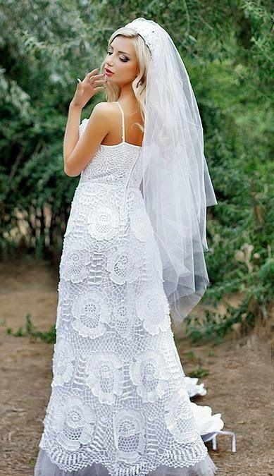 vestido noiva croche flores