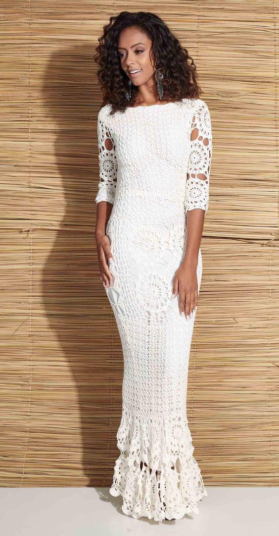 vestido noiva croche justo