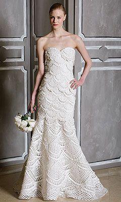 vestido noiva croche sereia