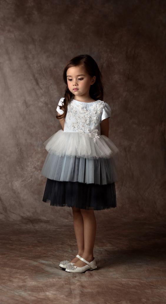 vestidos festa menina cinza