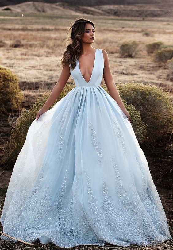 vestidos noiva coloridos azul