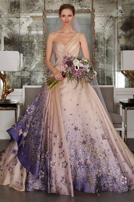 vestidos noiva coloridos flores