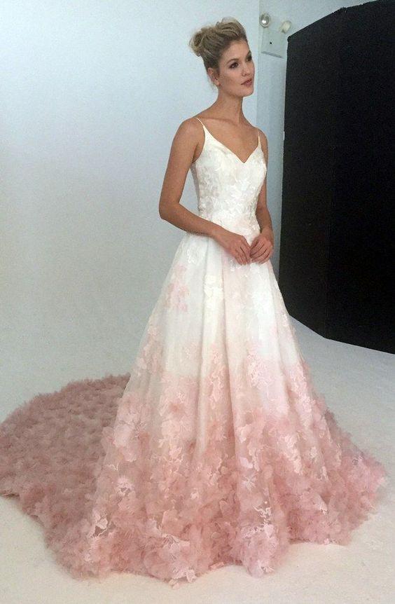 vestidos noiva coloridos rosa