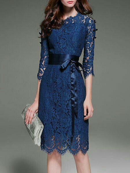 vestidos renda azul