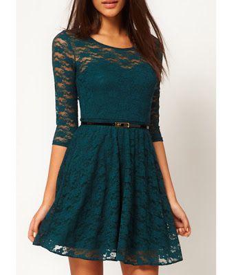 vestidos renda verde